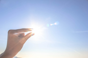 hand sun and blue sky with copyspace, hand sun and blue sky with copyspace for text message