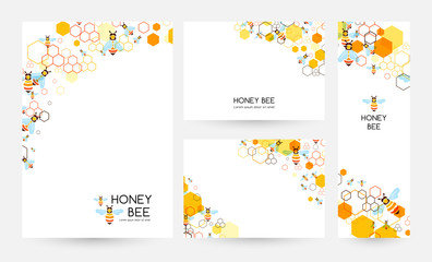 Honeycombs and bee. Design collection. Vector illustration