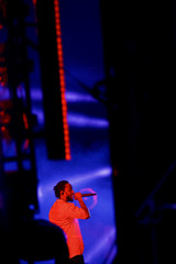 Kendrick Lamar performs on the fourth and final day of the Firefly Music Festival in Dover, Delaware U.S.