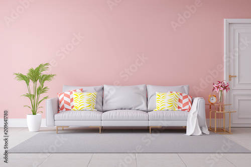 Minimalist pastel color and modern room interior design light gray