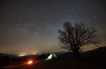 Bonfire burning near tourist illuminated tent, lit from inside. Night camping in mountains under amazing starry sky. Distant hills, silhouette of big tree in background. Tourism and traveling concept