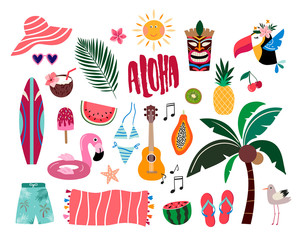 Tropical summer elements, hand drawn collection with different items isolated on white
