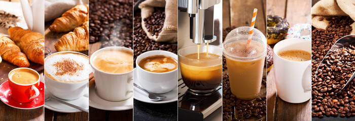 Photo sur Aluminium Cafe coffee collage of various cups