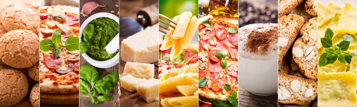 food collage of italian cuisine