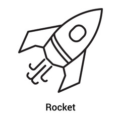 Rocket icon vector sign and symbol isolated on white background, Rocket logo concept, outline symbol, linear sign