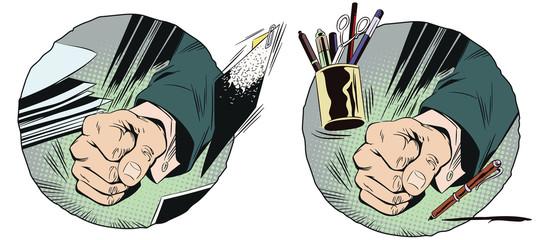 Fist on table. Stock illustration.