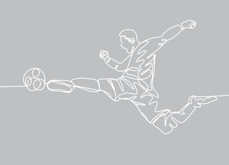 Continuous line drawing. Illustration shows a football player kicks the ball
