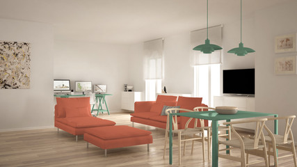 Scandinavian contemporary living room open space with dining table, sofa and chaise longue, office, home workplace with computers, minimal modern green and orange interior design