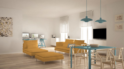 Scandinavian contemporary living room open space with dining table, sofa and chaise longue, office, home workplace with computers, minimal modern blue and yellow interior design