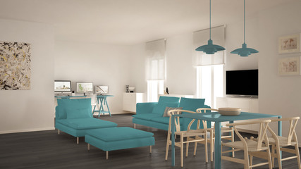 Scandinavian contemporary living room open space with dining table, sofa and chaise longue, office, home workplace with computers, minimal modern blue and gray interior design