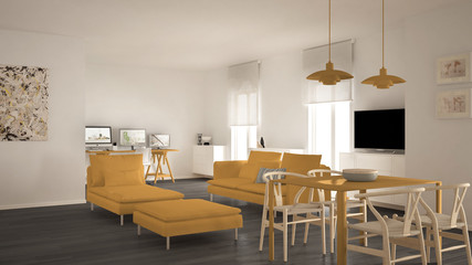 Scandinavian contemporary living room open space with dining table, sofa and chaise longue, office, home workplace with computers, minimal modern yellow and gray interior design