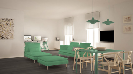 Scandinavian contemporary living room open space with dining table, sofa and chaise longue, office, home workplace with computers, minimal modern yellow and green interior design