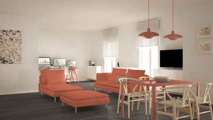 Scandinavian contemporary living room open space with dining table, sofa and chaise longue, office, home workplace with computers, minimal modern orange and green interior design