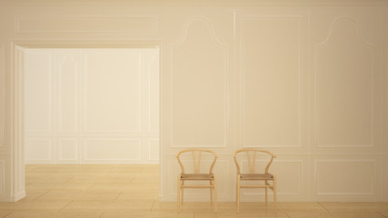 Classic empty room with marble floor and wooden chairs, white contemporary interior design