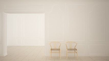 Classic empty room with parquet floor and wooden chairs, contemporary white interior design