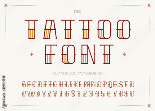 Tattoo Font Colorful Style Retro Sans Serif For Party Poster Printing On