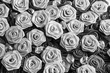 Black and white satin roses background, wedding style background
