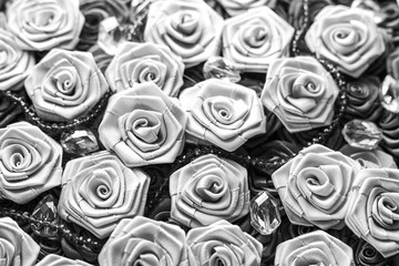 Black and white satin roses background, wedding style background
