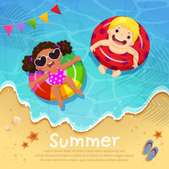 Kids floating on inflatable at the beach in summer time. Template for advertising brochure