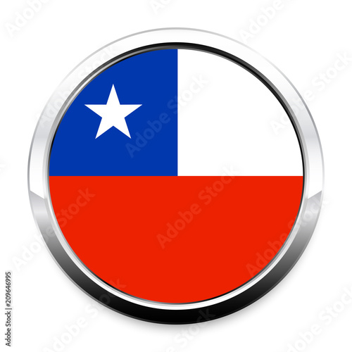 Button Flag Of Chile In A Round Metal Chrome Frame With A Shadow