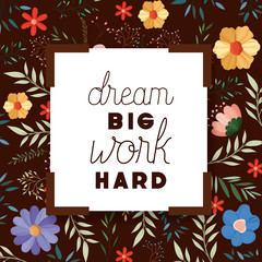 dreams message with hand made font vector illustration design