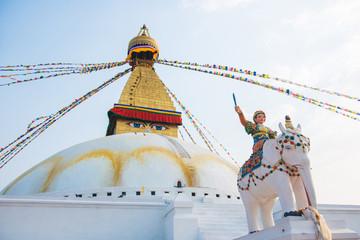 The Wisdom eyes on Boudhanath stupa