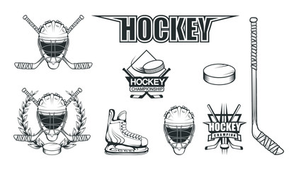 Set of different elements for hockey playing. Hockey helmet. Professional ice skates illustration. Ice Games logo. Goalkeeper mask with sticks. Vector graphics to design.
