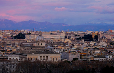 Panoramic view of Rome from the height of Mons Janiculus Terrazza del Gianicolo hill