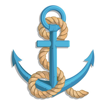 Illustration of a ship's anchor with a rope and ship. Vector graphics to design.