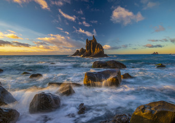 landscape of Benijo beach at sunset in Tenerife,art photography