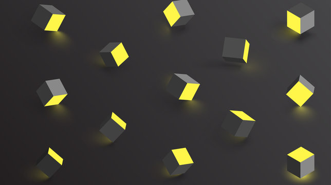 Black background with yellow geometric 3d cubes pattern.