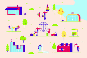 Couple man and woman walk in various places to go. Shopping, leisure, cafe, taxes, travel, business and other. With buildings and trees minimal abstract flat style vector illustration in the park.