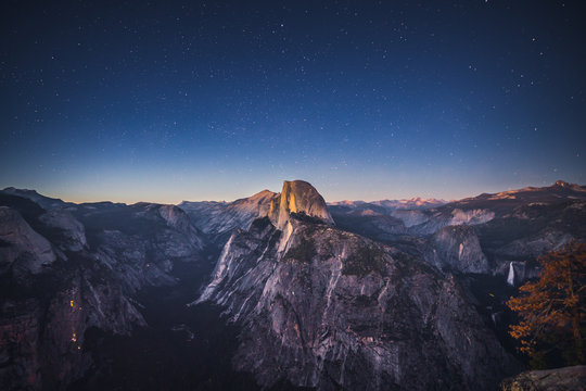 Starry Night above Half Dome in Yosemite National Park, California, USA