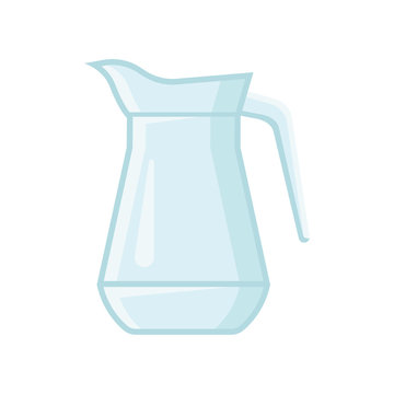 Transparent glass jug for water or juice. Vessel with one handle. Flat vector element for banner or poster