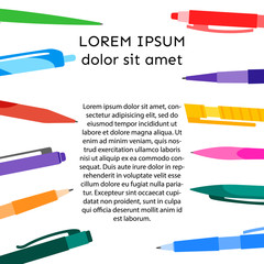 Background with pens and pencils and place for your text. Vector illustration.