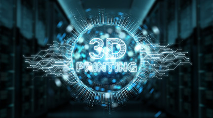 3D printing digital text hologram background 3D rendering