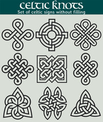 Set of celtic signs without filling. 9 symbols made with Celtic knots for use in tattoos or designs.