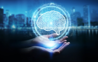 Businesswoman using digital artificial intelligence icon hologram 3D rendering