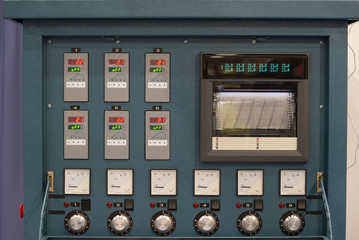 Industrial electrical switch panel in control room of factory