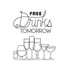 free drinks set icons vector illustration design