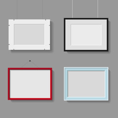 vector collection of photo or picture frames on grey background