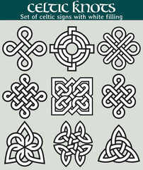 Set of celtic signs with fill. 9 symbols made with Celtic knots for use in tattoos or designs.