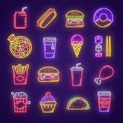 Fast food and drink neon light sign for signboard