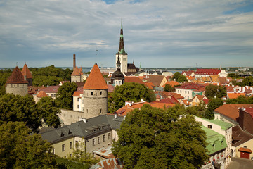 TALLINN, ESTONIA - View from Viewing Point Kohtuotsa, Toompea hill at The Old Town, St. Olaf's Church, Baltic sea and cruise ferry