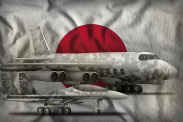 Japan air forces concept on the state flag background. 3d Illustration