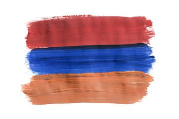 Painted Armenian flag isolated