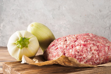 Mixe of ground meat minced beef and pork