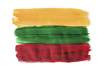 Painted Lithuanian flag isolated