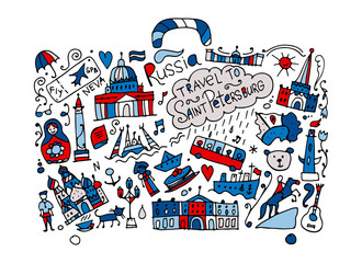 Travel to Saint Petersburg, sketch for your design