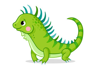 Cute iguana on a white background. Vector illustration with an animal in cartoon style. Picture on a children's theme.